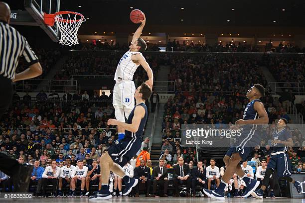 Grayson Allen of the Duke Blue Devils goes up for a dunk against the Yale Bulldogs during the first round of the 2016 NCAA Men's Basketball...