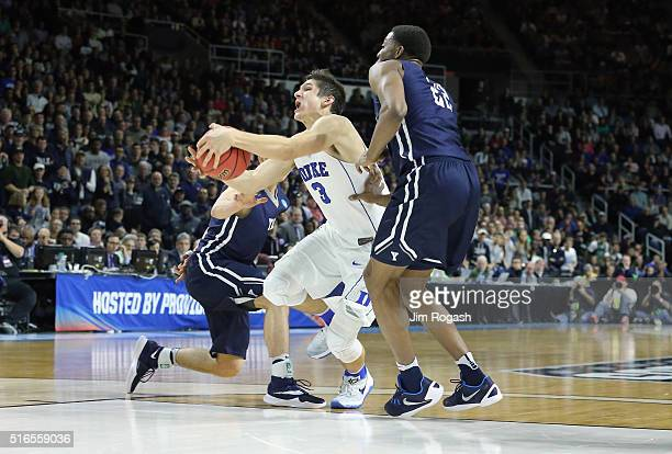 Grayson Allen of the Duke Blue Devils handles the ball against Justin Sears of the Yale Bulldogs in the second half of their game during the second...