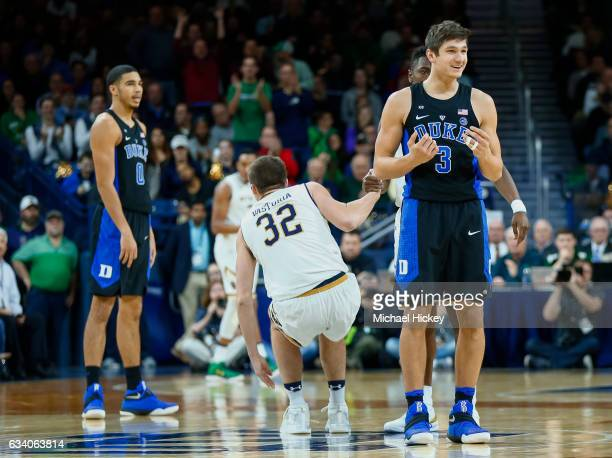Grayson Allen of the Duke Blue Devils is seen during the game against the Notre Dame Fighting Irish at Purcell Pavilion on January 30 2017 in South...
