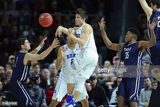 Grayson Allen of the Duke Blue Devils passes the ball in the first half against the Yale Bulldogs during the second round of the 2016 NCAA Men's...