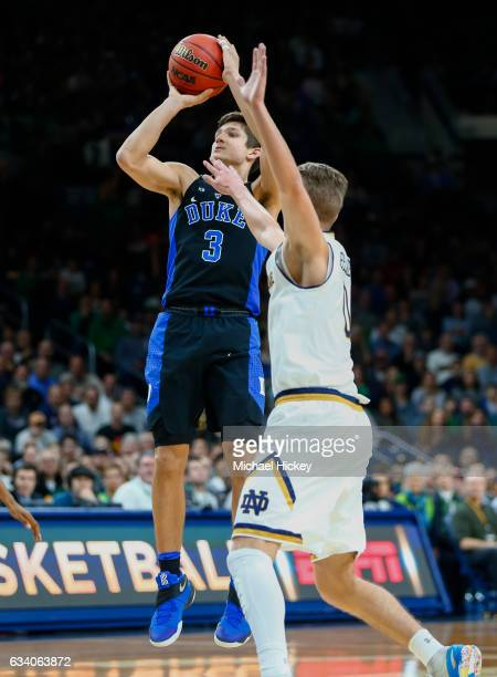 Grayson Allen of the Duke Blue Devils shoots a jumper against the Notre Dame Fighting Irish at Purcell Pavilion on January 30 2017 in South Bend...