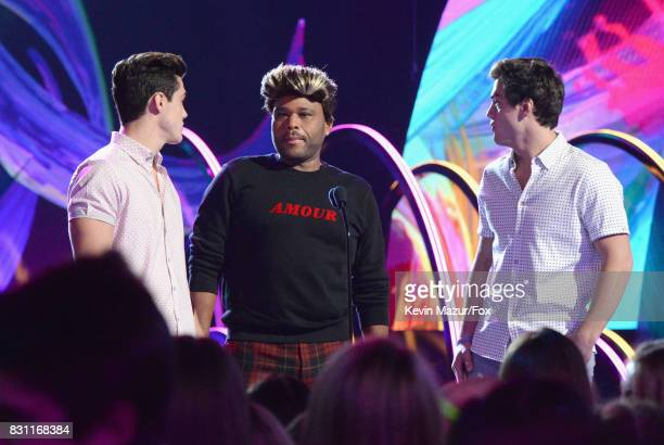 Grayson Dolan Anthony Anderson and Ethan Dolan speak onstage during Teen Choice Awards 2017 at Galen Center on August 13 2017 in Los Angeles...