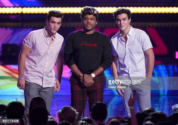 Grayson Dolan Anthony Anderson and Ethan Dolan speak onstage during the Teen Choice Awards 2017 at Galen Center on August 13 2017 in Los Angeles...