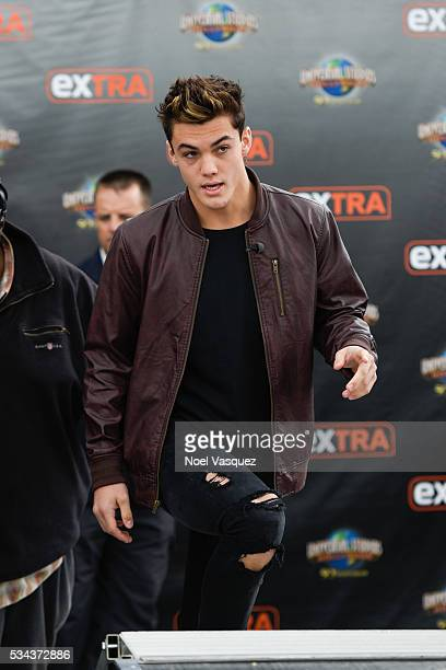 Grayson Dolan visits 'Extra' at Universal Studios Hollywood on May 25 2016 in Universal City California