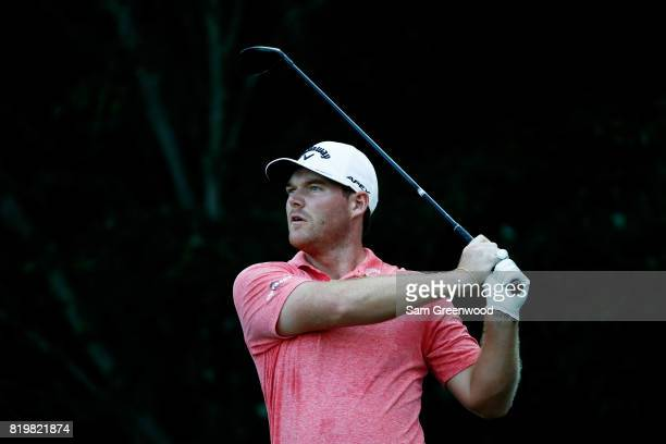 Grayson Murray of the United States plays his shot from the 11th tee during the first round of the Barbasol Championship at the Robert Trent Jones...