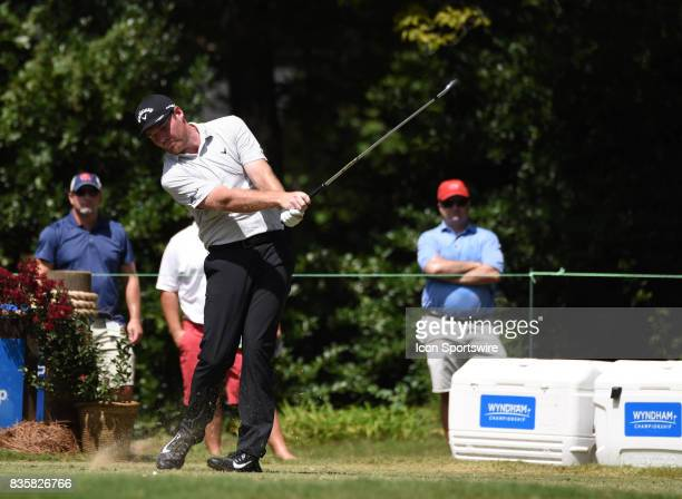 Grayson Murray tees off on the 6th hole during the first round of the Wyndham Championship on August 18 2017 at Sedgefield Country Club in Greensboro...