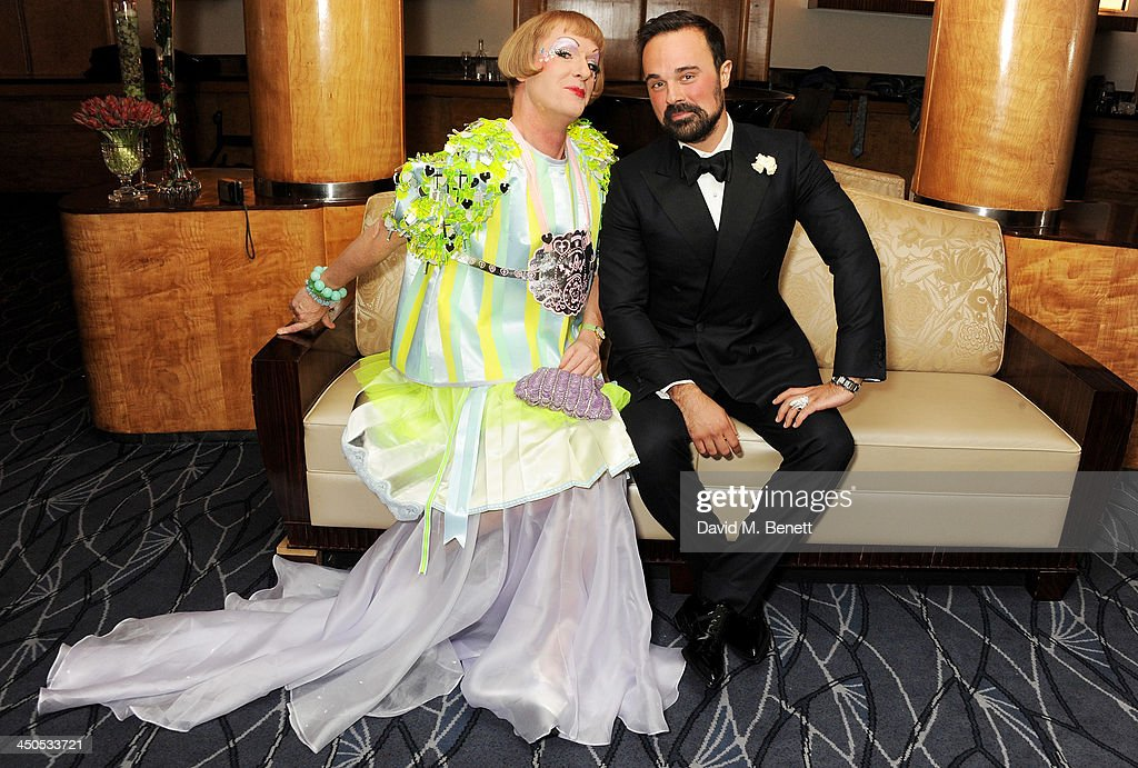 Grayson Perry and Owner of the London Evening Standard Evgeny Lebedev attend a drinks reception at the 59th London Evening Standard Theatre Awards at...