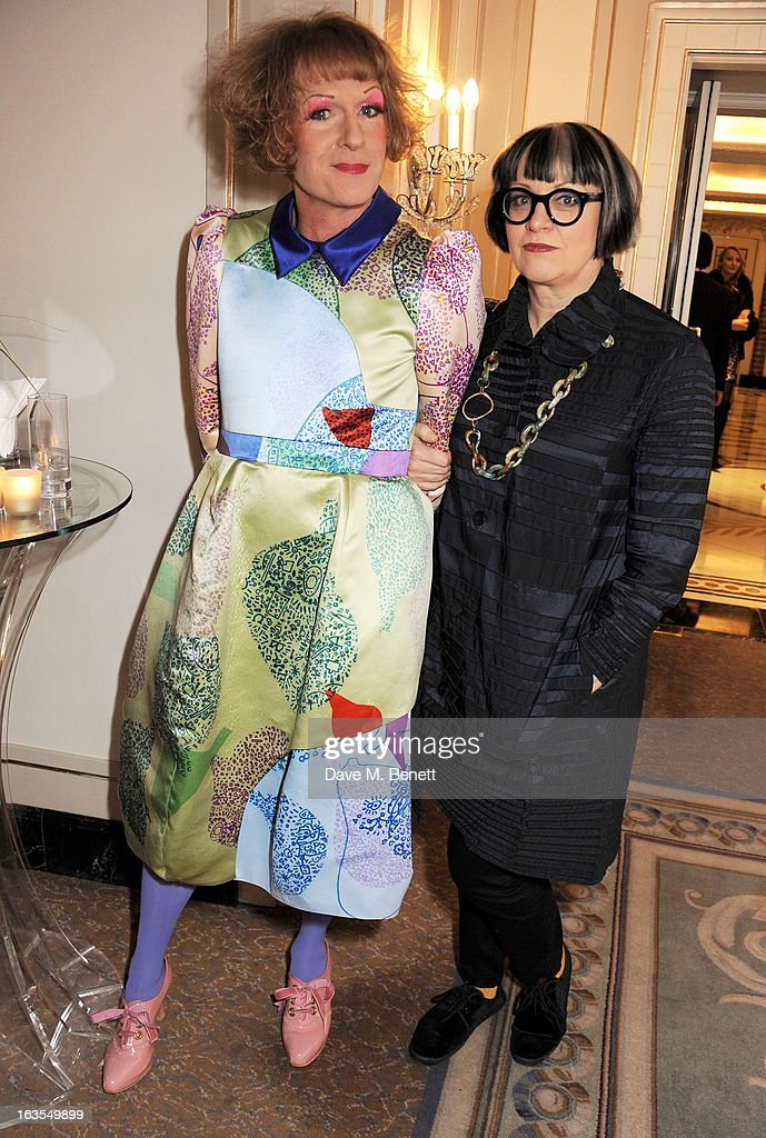 Grayson Perry and Philippa Perry arrive at the 2013 South Bank Sky Arts Awards at The Dorchester on March 12 2013 in London England