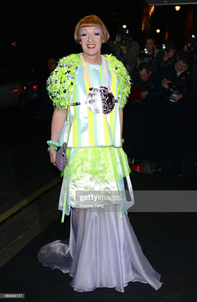 Grayson Perry arrives for the London Evening Standard Theatre Awards held at the Savoy Hotel on November 17 2013 in London England