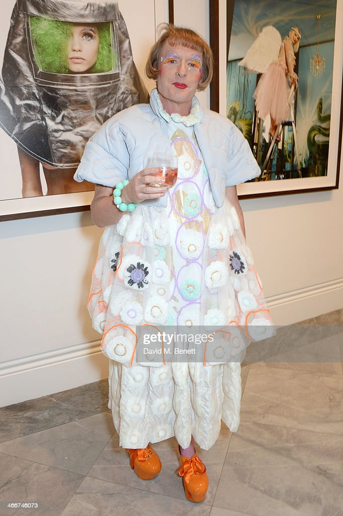 Grayson Perry attends a private view of Bailey's Stardust a exhibition of images by David Bailey supported by Hugo Boss at the National Portrait...