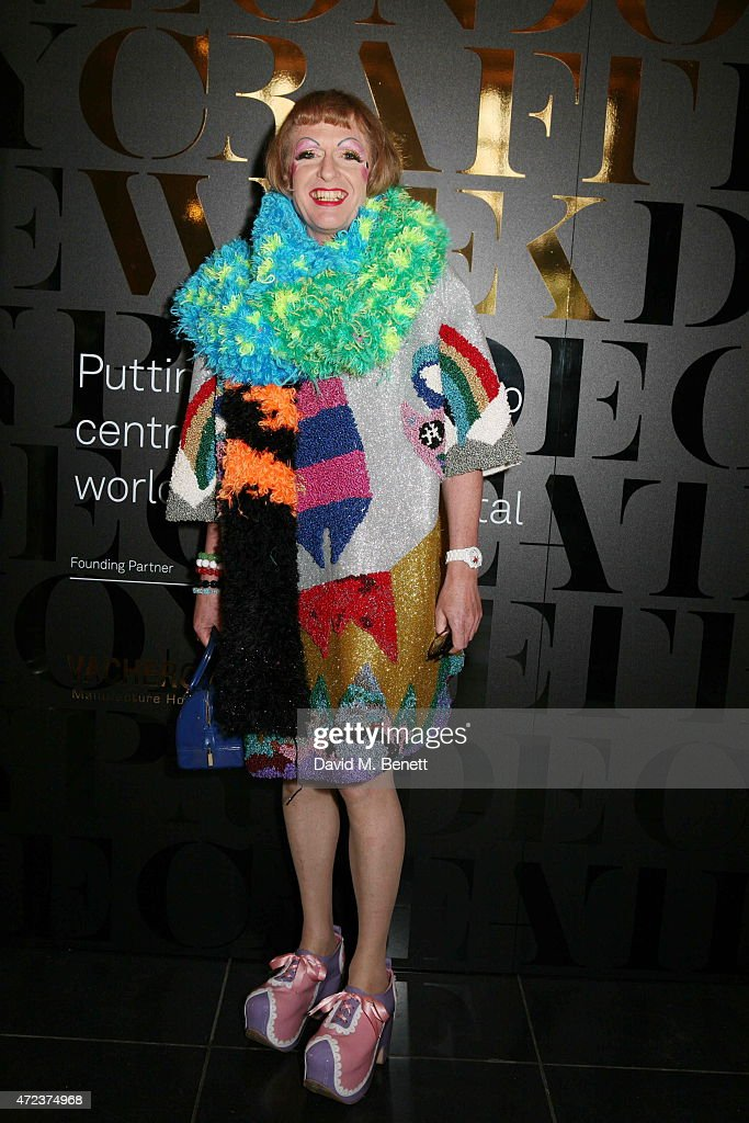 Grayson Perry attends the London Craft Week opening reception at The VA on May 6 2015 in London England