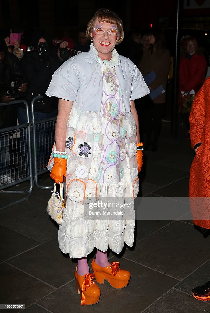 <a gi-track='captionPersonalityLinkClicked' href=/galleries/search?phrase=Grayson+Perry&family=editorial&specificpeople=208176 ng-click='$event.stopPropagation()'>Grayson Perry</a> attends the VIP private view of David Bailey: Bailey's Stardust at National Portrait Gallery on February 3, 2014 in London, England.