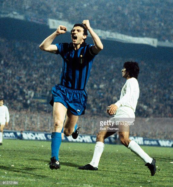 Graziano Bini of InterMilan celebrates after scoring a goal during the InterMilan v Real Madrid European Cup SemiFinal 2nd Leg played in Milan on the...