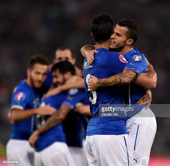 Graziano Pelle and Sebastian Giovinco of Italy celebrate during the UEFA EURO 2016 Qualifier between Italy and Norway at Olimpico Stadium on October...