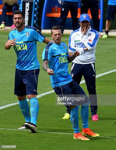 Graziano Pelle Federico Bernardeschi head coach Antonio Conte look on during the Italy training session at 'Bernard Gasset' Training Center on June...