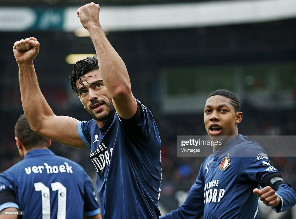Graziano Pelle (L), Jean Paul Boetius (R) during the Dutch Eredivisie match between NEC Nijmegen and Feyenoord at the Goffert Stadium on march 03, 2013 in Nijmegen, The Netherlands