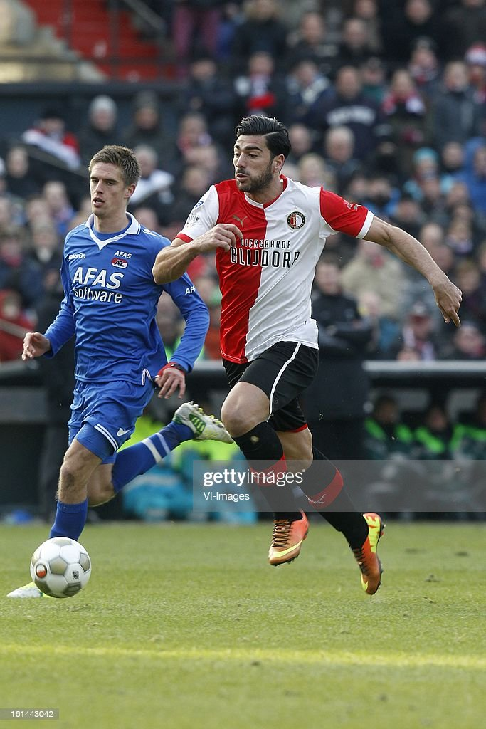 Graziano Pelle of Feyenoord (R) during the Dutch Eredivisie match between Feyenoord and AZ Alkmaar at stadium De Kuip on february 10, 2013 in Rotterdam, The Netherlands