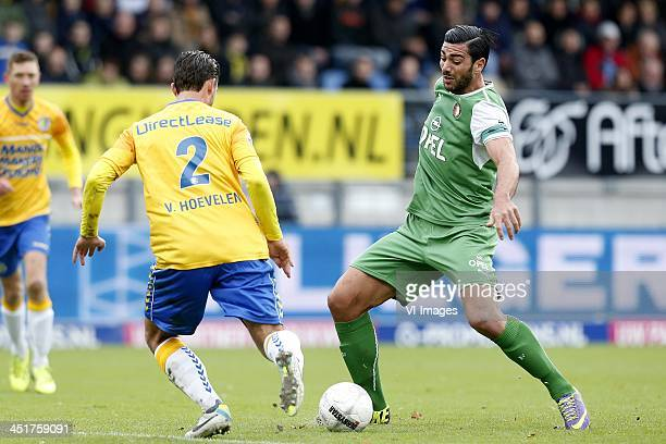 Graziano Pelle of Feyenoord Kenny van Hoevelen of RKC Waalwijk during the Dutch Eredivisie match between RKC Waalwijk and Feyenoord on November 24...