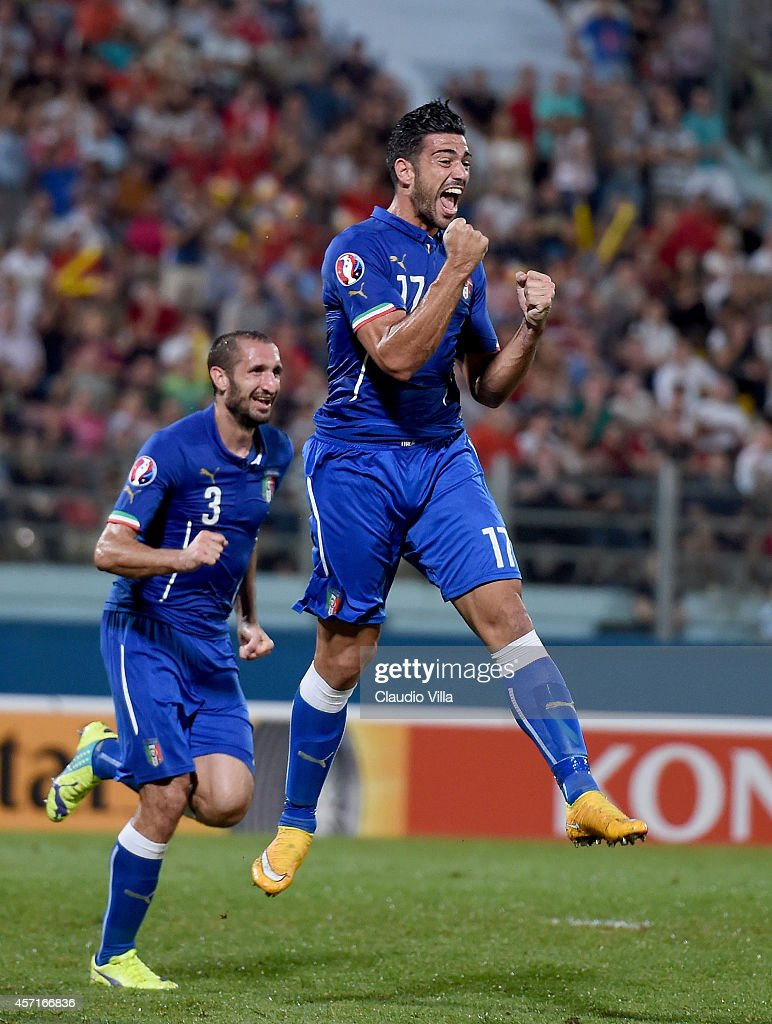 Graziano Pelle of Italy celebrates after scoring the first goal during the EURO 2016 Group H Qualifier match between Malta and Italy at Ta' Qali...