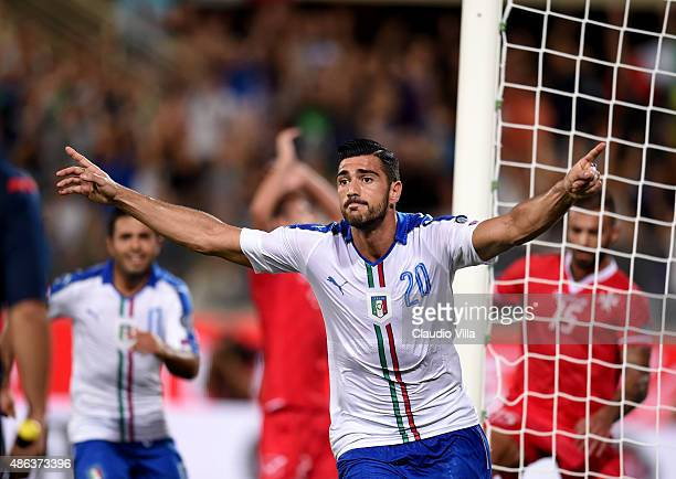 Graziano Pelle of Italy celebrates after scoring the opening goal during the EURO 2016 Group H Qualifier match between Italy and Malta during the...