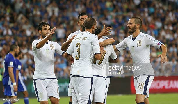 Graziano Pelle of Italy celebrates after scoring the opening goal during the FIFA 2018 World Cup Qualifier between Israel and Italy at Sammy Ofer...