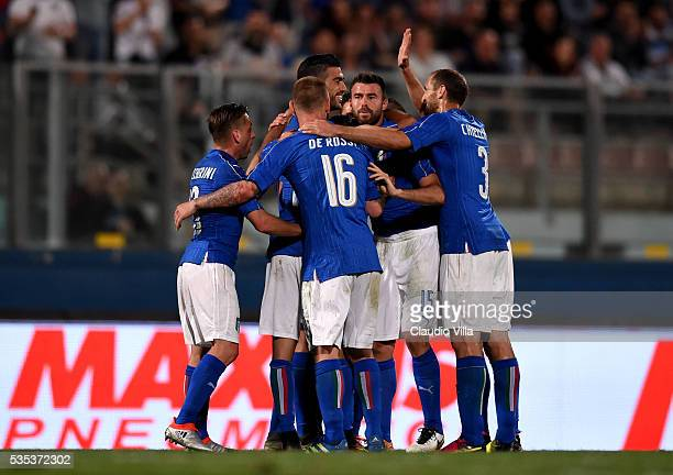 Graziano Pelle of Italy celebrates after scoring the opening goalduring the international friendly between Italy and Scotland on May 29 2016 in Malta...