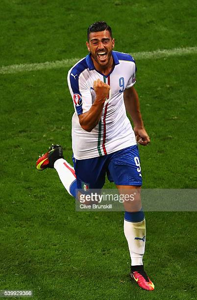 Graziano Pelle of Italy celebrates scoring his team's second goal during the UEFA EURO 2016 Group E match between Belgium and Italy at Stade des...