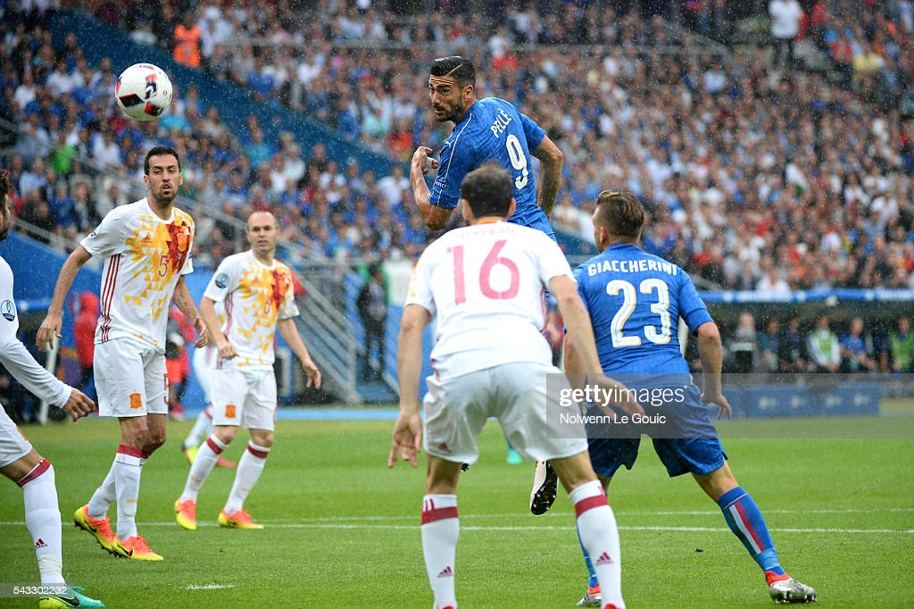 Graziano Pelle of Italy during the European Championship match Round of 16 between Italy and Spain at Stade de France on June 27, 2016 in Paris, France.