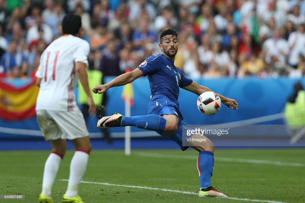 Graziano Pelle of Italy during the UEFA Euro 2016 round of 16 match between Italy and Spain on June 27, 2016 at the Stade de France in Paris, France.