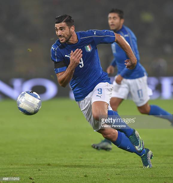 Graziano Pelle of Italy in action during the international friendly match between Italy and Romania at Stadio Renato Dall'Ara on November 17 2015 in...
