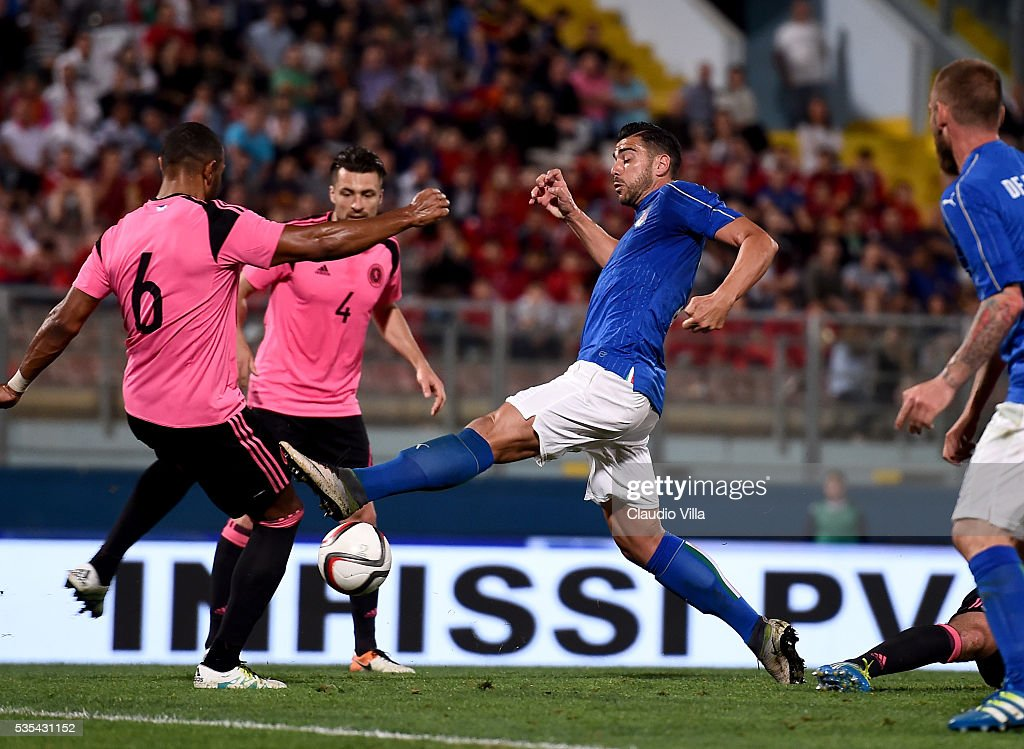 <a gi-track='captionPersonalityLinkClicked' href=/galleries/search?phrase=Graziano+Pelle&family=editorial&specificpeople=2333390 ng-click='$event.stopPropagation()'>Graziano Pelle</a> of Italy in action during the international friendly between Italy and Scotland on May 29, 2016 in Malta, Malta.