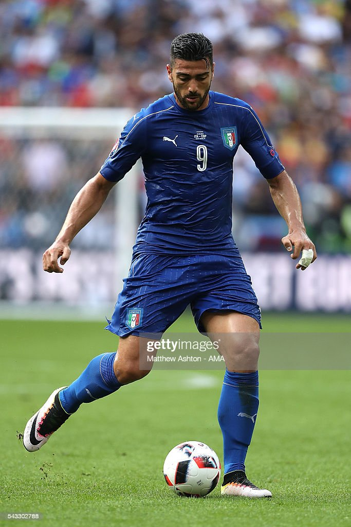<a gi-track='captionPersonalityLinkClicked' href=/galleries/search?phrase=Graziano+Pelle&family=editorial&specificpeople=2333390 ng-click='$event.stopPropagation()'>Graziano Pelle</a> of Italy in action during the UEFA Euro 2016 Round of 16 match between Italy and Spain at Stade de France on June 27, 2016 in Paris, France.