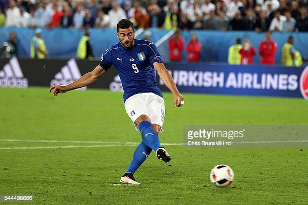 Graziano Pelle of Italy misses during the penalty shoot out following the UEFA Euro 2016 Quarter Final match between Germany and Italy at Nouveau...