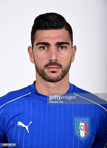 Graziano Pelle of Italy poses during the official portrait session at Coverciano on November 10 2015 in Florence Italy