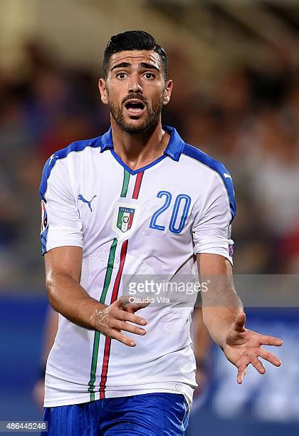 Graziano Pelle of Italy reacts during the EURO 2016 Group H Qualifier match between Italy and Malta on September 3 2015 in Florence Italy