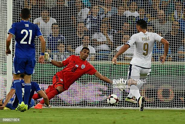 Graziano Pelle of Italy scores the opening goal during the FIFA 2018 World Cup Qualifier between Israel and Italy at Itztadion Sammy Ofer on...