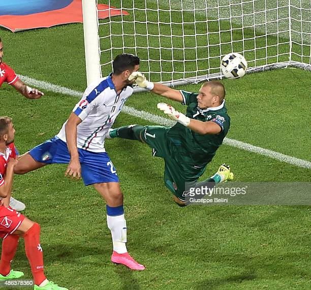 Graziano Pelle of Italy scores the opening goal during the UEFA EURO 2016 qualifier between Italy and Malta on September 3 2015 in Florence Italy