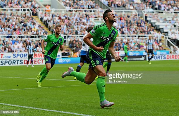 Graziano Pelle of Southampton celebrates after scoring the opening goal during the Barclays Premier League match between Newcastle United and...