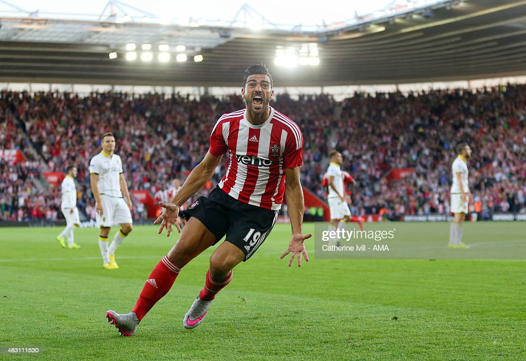Graziano Pelle of Southampton celebrates after scoring to make it 1-0 during the UEFA Europa League Qualifier between Southampton and Vitesse at St Mary's Stadium on July 30, 2015 in Southampton, England.