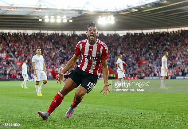 Graziano Pelle of Southampton celebrates after scoring to make it 10 during the UEFA Europa League Qualifier between Southampton and Vitesse at St...