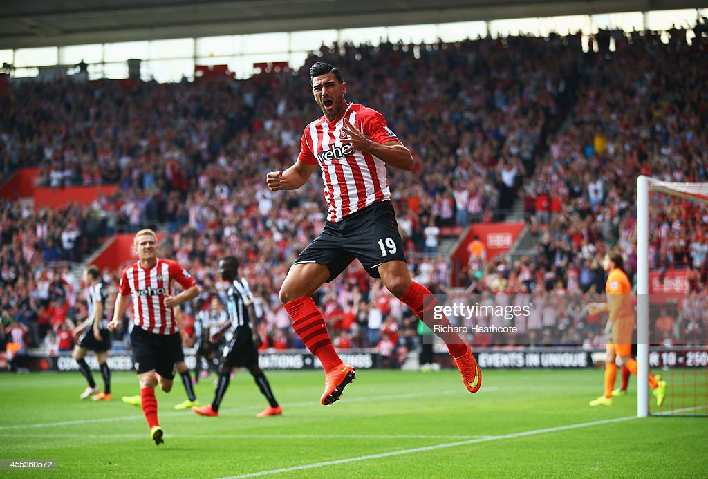 Graziano Pelle of Southampton celebrates as he scores their first goal during the Barclays Premier League match between Southampton and Newcastle...