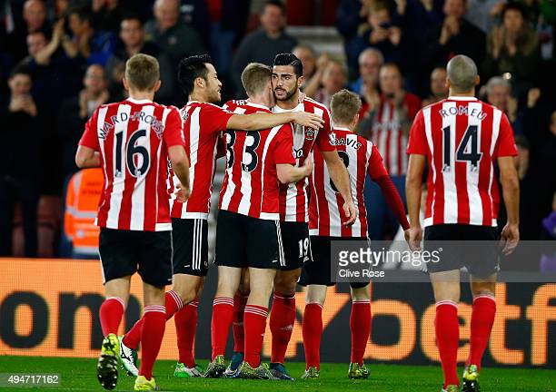 Graziano Pelle of Southampton celebrates his goal during the Capital One Cup Fourth Round match between Southampton and Aston Villa at St Mary's...
