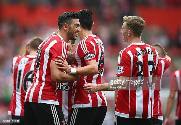 Graziano Pelle of Southampton celebrates scoring the first goal for Southampton during the Barclays Premier League match between Southampton and...