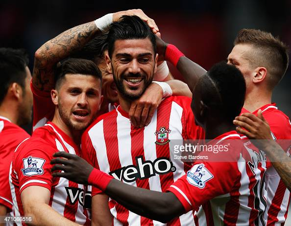 Graziano Pelle of Southampton celebrates with team mates as he scores their second goal with a header during the Barclays Premier League match...