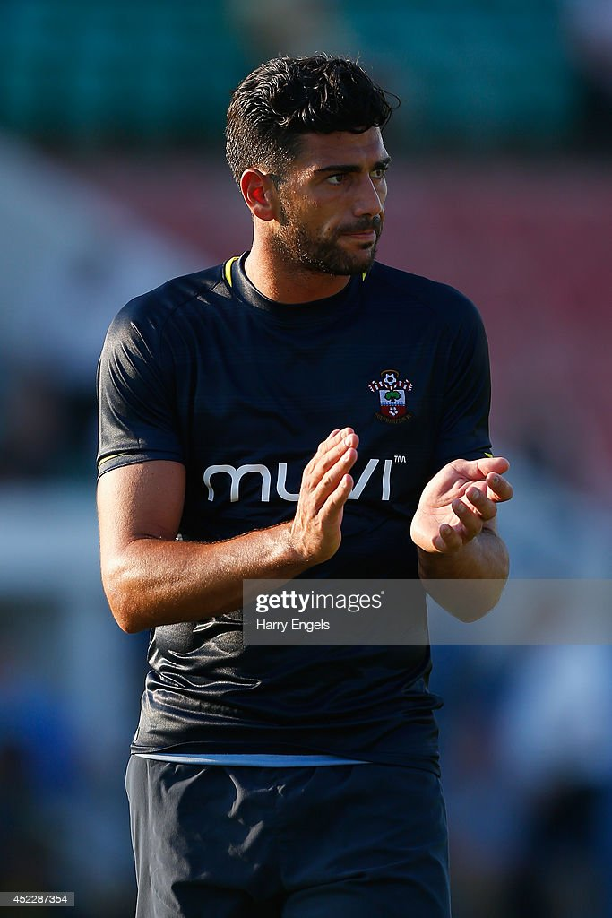 <a gi-track='captionPersonalityLinkClicked' href=/galleries/search?phrase=Graziano+Pelle&family=editorial&specificpeople=2333390 ng-click='$event.stopPropagation()'>Graziano Pelle</a> of Southampton in action during the pre-season friendly match between KSK Hasselt and Southampton at the Stedelijk Sportstadion on July 17, 2014 in Hasselt, Belgium.