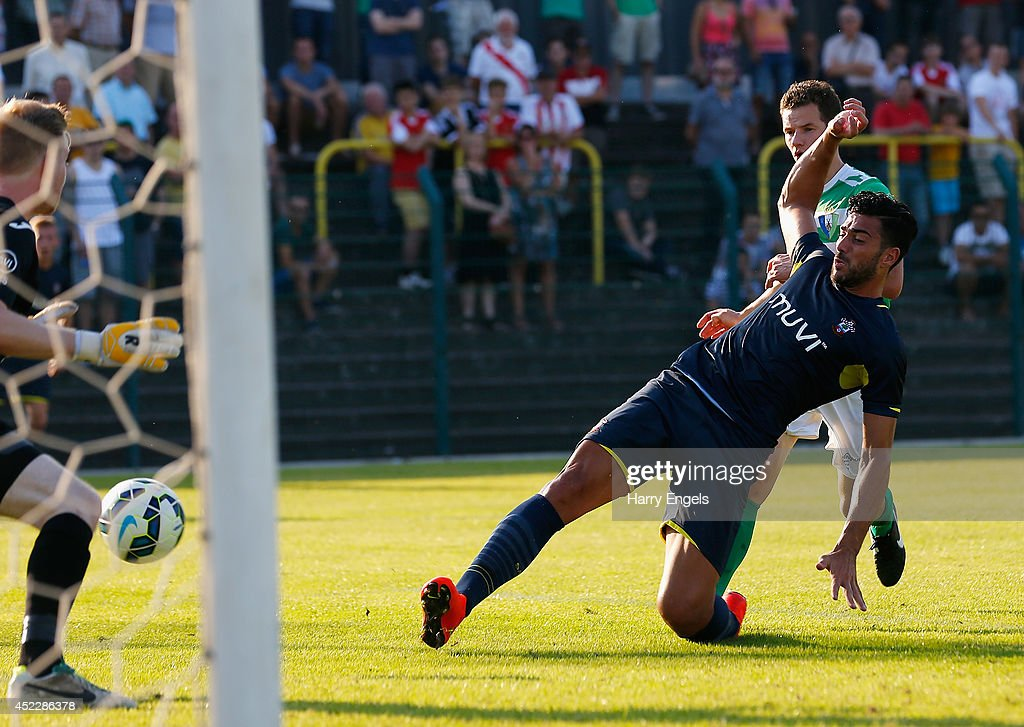Graziano Pelle of Southampton scores his second goal during the pre-season friendly match between KSK Hasselt and Southampton at the Stedelijk Sportstadion on July 17, 2014 in Hasselt, Belgium.
