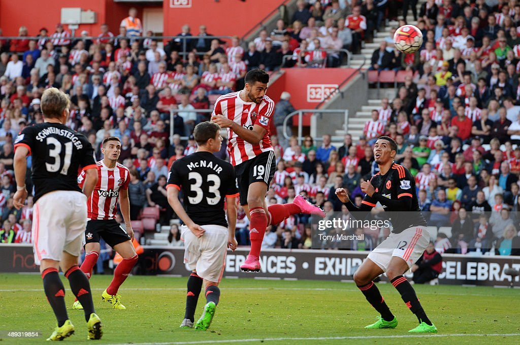 Graziano Pelle of Southampton (19) scores their second goal with a header during the Barclays Premier League match between Southampton and Manchester United at St Mary's Stadium on September 20, 2015 in Southampton, United Kingdom.