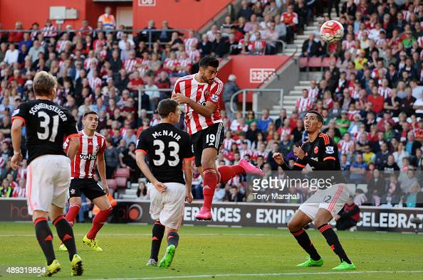 Graziano Pelle of Southampton scores their second goal with a header during the Barclays Premier League match between Southampton and Manchester...