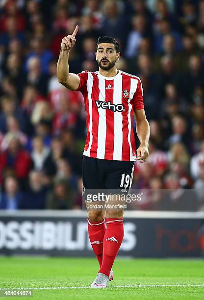Graziano Pelle of Southampton signals during the UEFA Europa League Play Off Round 1st Leg match between Southampton and Midtjylland at St Mary's...