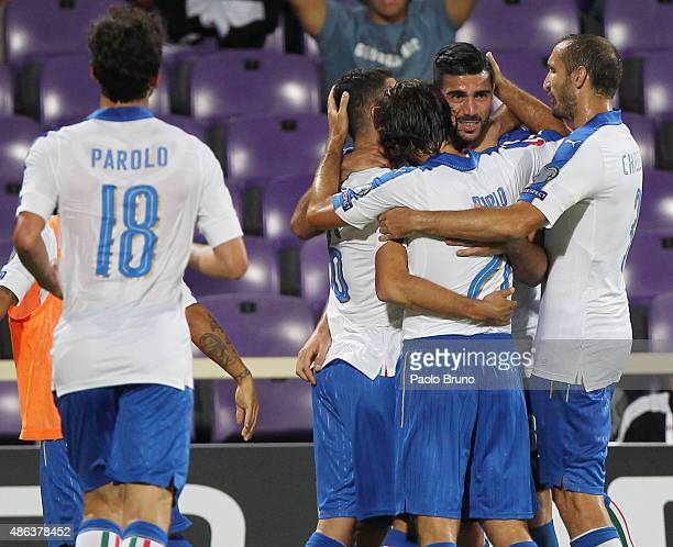 Graziano Pelle with his teammates of Italy celebrates after scoring the opening goal during the UEFA EURO 2016 qualifier between Italy and Malta on...